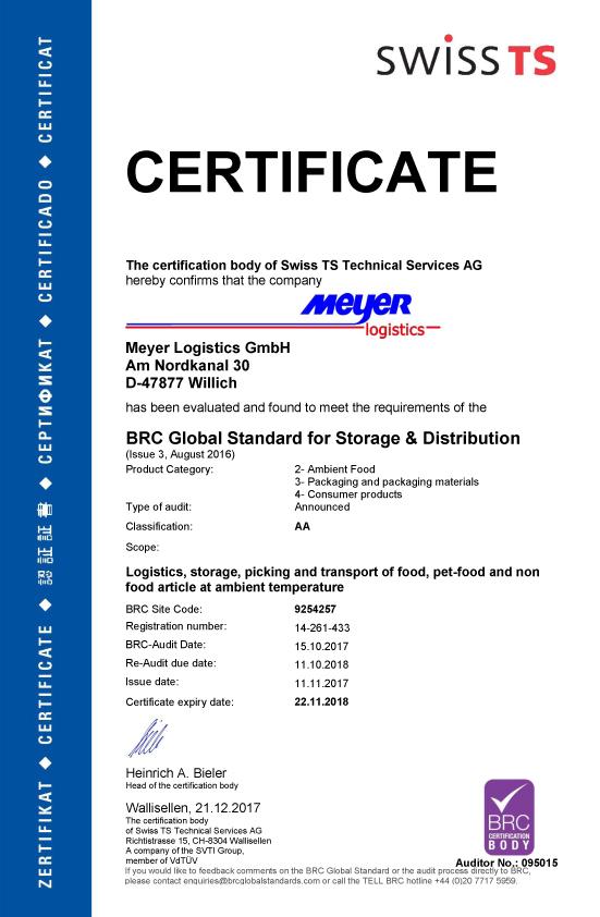Meyer Logistics Zertifikat BRC ENG