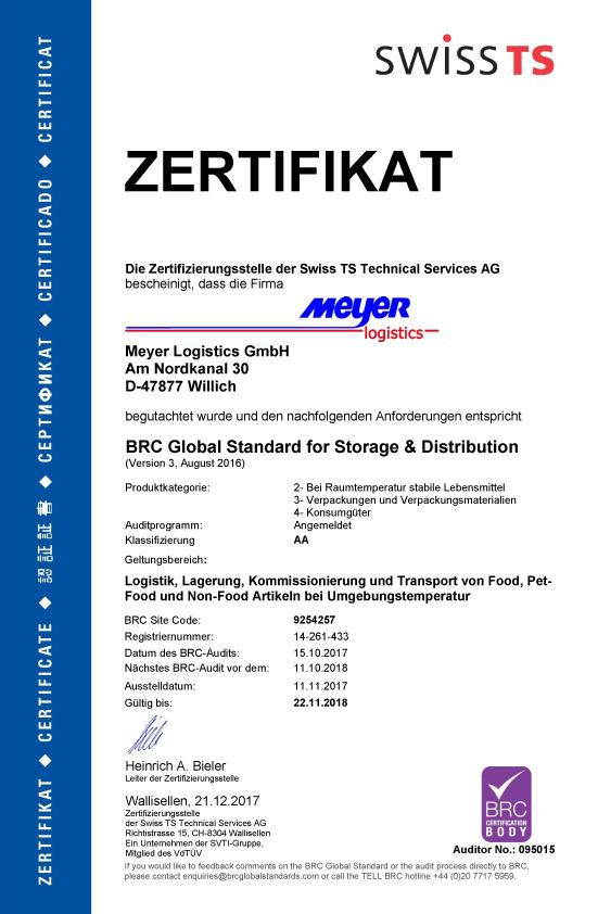 Meyer Logistics Zertifikat BRC