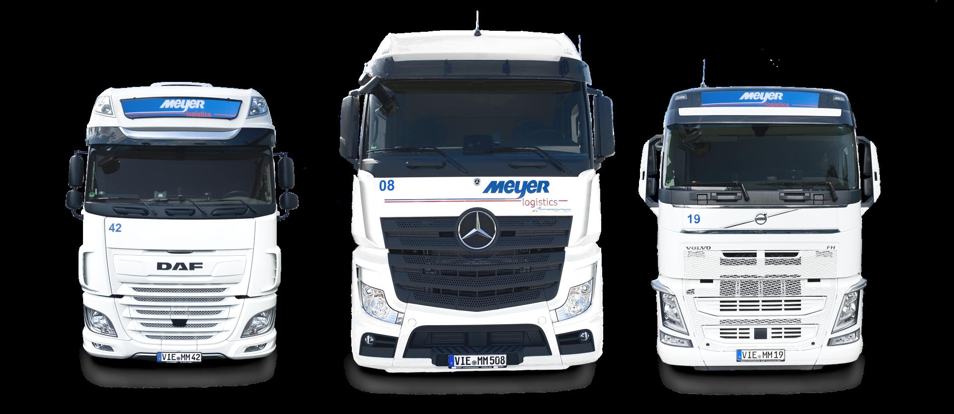 3 LKW von Meyer logistics