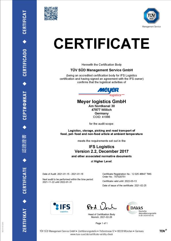 Zertifikat IFS en