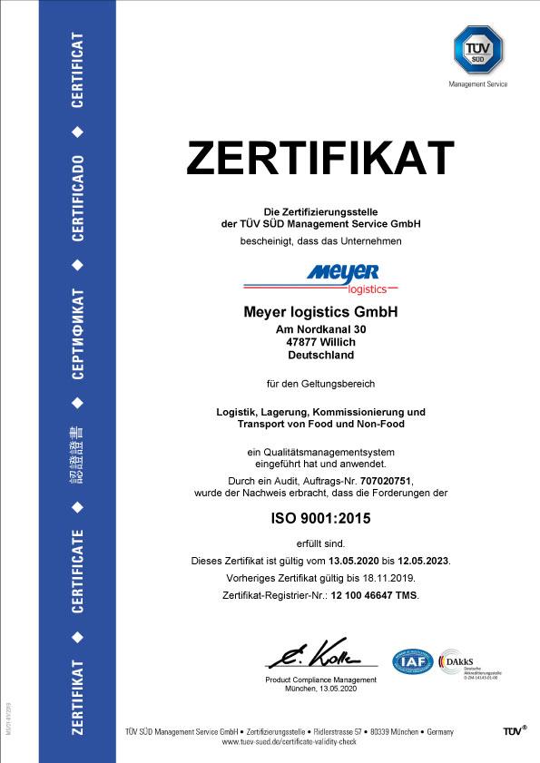 Zertifikat ISO 9001 2015 de